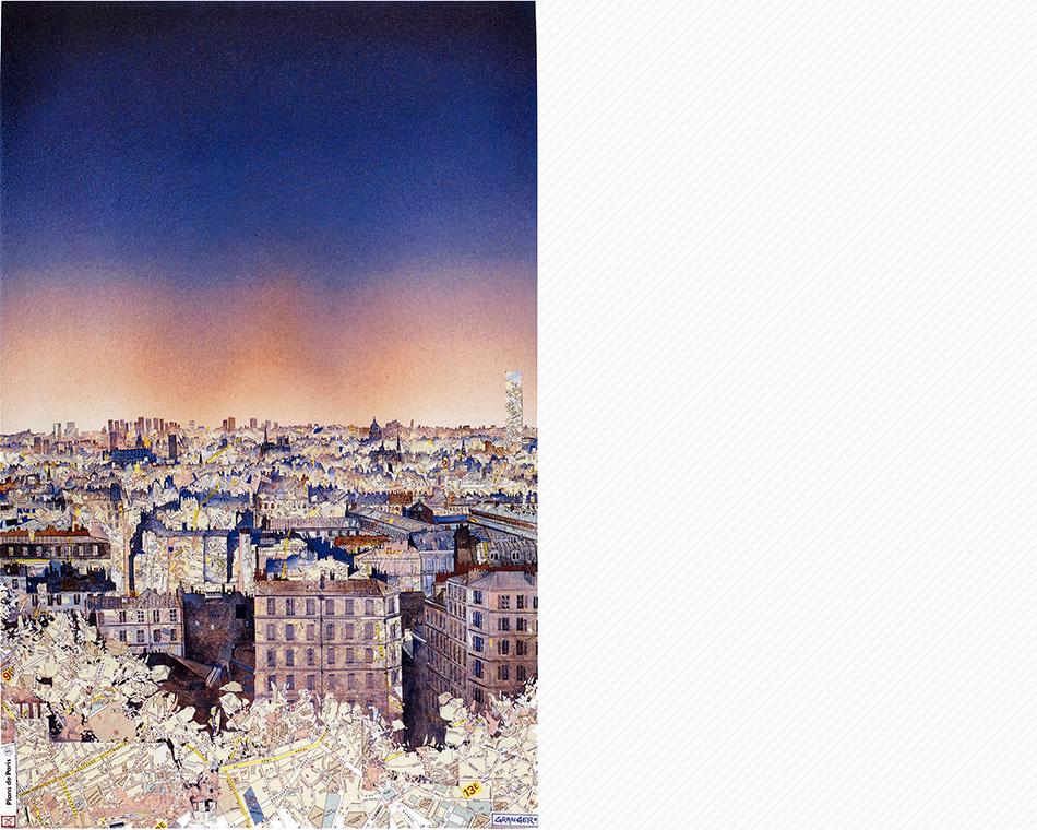 Paris. Découpage de cartes - 56 x 76 cm - sérigraphies numérotées à 150 exemplaires (800 Euros)