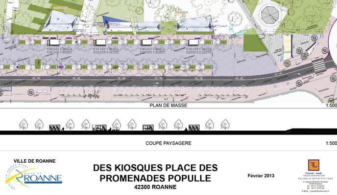 des kiosques Place des Promenades Populle - Roanne