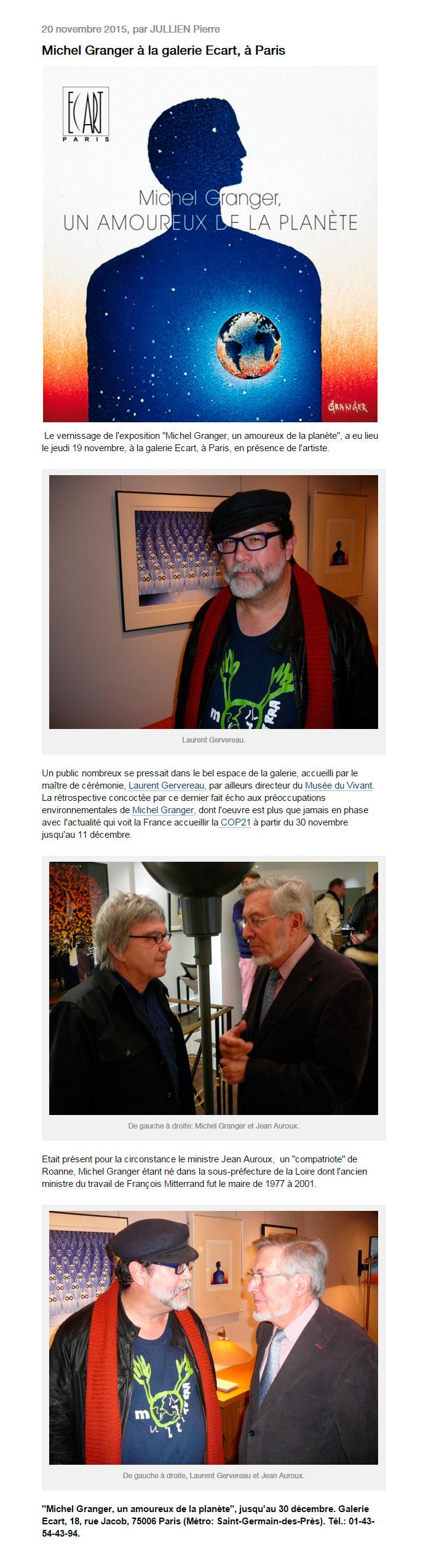 Michel Granger à la galerie Ecart, à Paris par Pierre Jullien