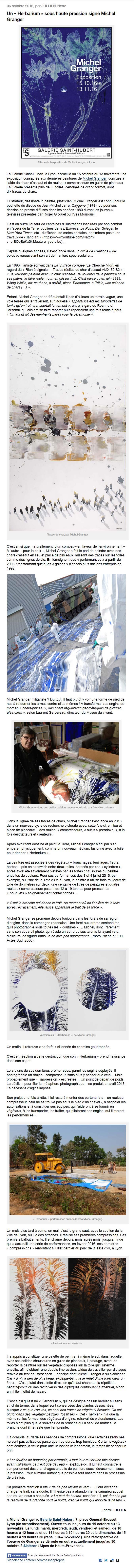 Article de Pierre Jullien sur la série Herbarium de Michel Granger